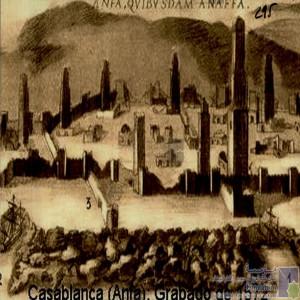 Casablanca ( Anfa): Grabado de 1572 / Carte de enceinte d\'Anfa/ Murailles et tours