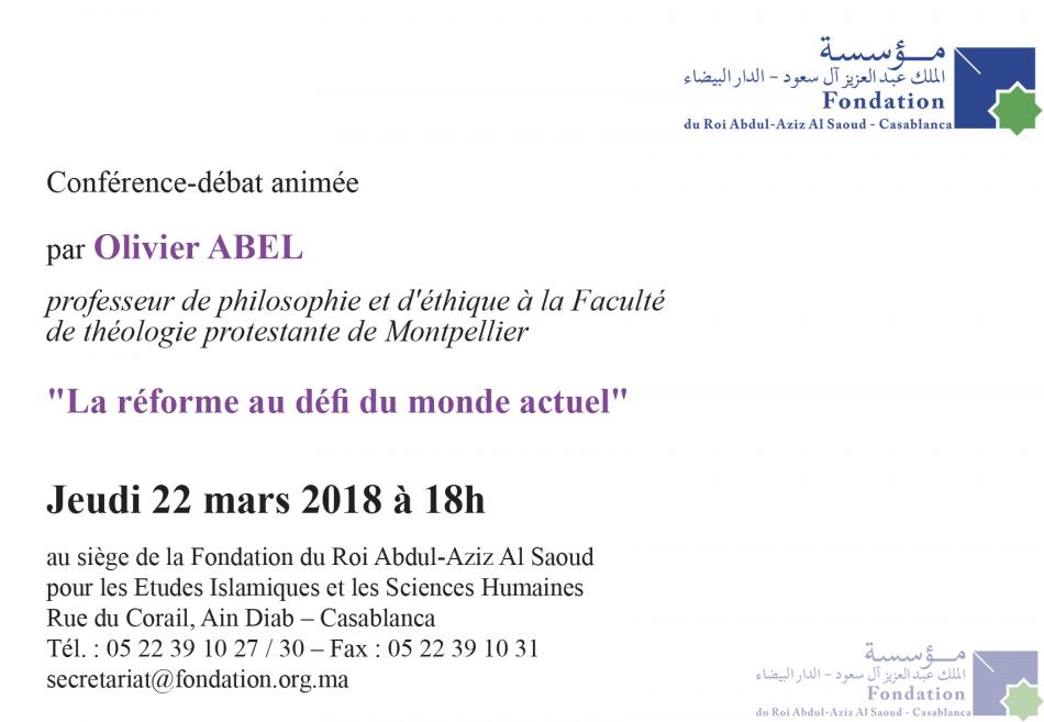 Conférence-débat animée par le professeur Olivier Abel