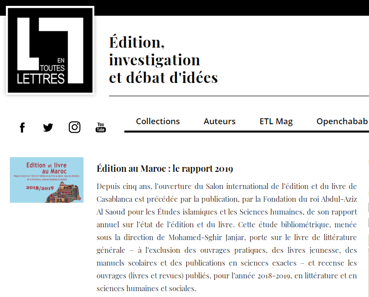 EN TOUTES LETTRES | Édition au Maroc : le rapport 2019